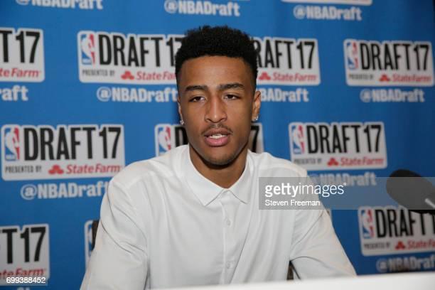 Draft Prospect John Collins speaks to the media during media availability as part of the 2017 NBA Draft on June 21 2017 at the Grand Hyatt New York...