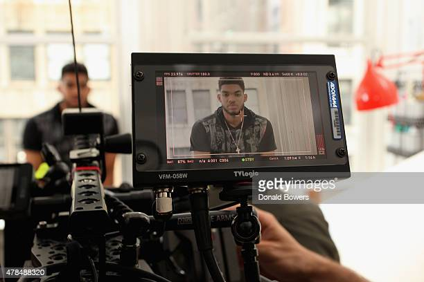 NBA draft prospect Karl Anthony Towns on set with Samsung during the 'Karlito' content shoot on June 23 2015 in New York City
