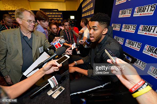 Draft Prospect Karl Anthony Towns speaks to the media during media availability as part of the 2015 NBA Draft on June 24 2015 at the Westin Times...
