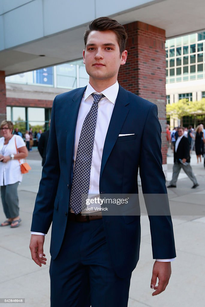NHL draft prospect <a gi-track='captionPersonalityLinkClicked' href=/galleries/search?phrase=Logan+Brown+-+Ice+Hockey+Center&family=editorial&specificpeople=15226663 ng-click='$event.stopPropagation()'>Logan Brown</a> arrives at First Niagara Center prior to round one of the 2016 NHL Draft on June 24, 2016 in Buffalo, New York.