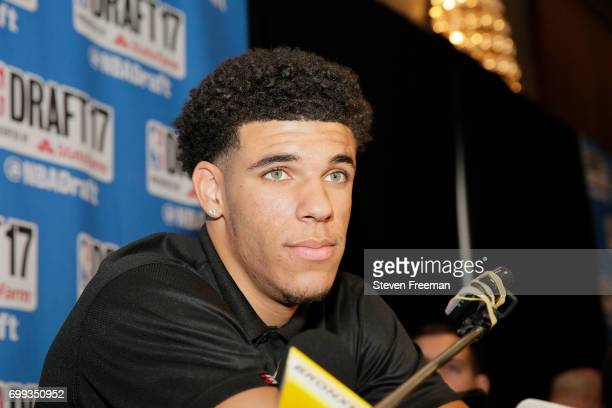 Draft Prospect Lonzo Ball speaks to the media during media availability as part of the 2017 NBA Draft on June 21 2017 at the Grand Hyatt New York in...