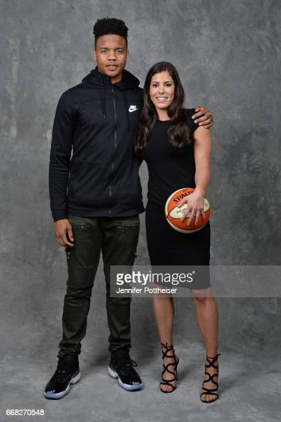 Draft prospect Markelle Fultz poses for a portrait with number one overall pick Kelsey Plum during the WNBA Draft on April 13 2017 at Samsung 837 in...