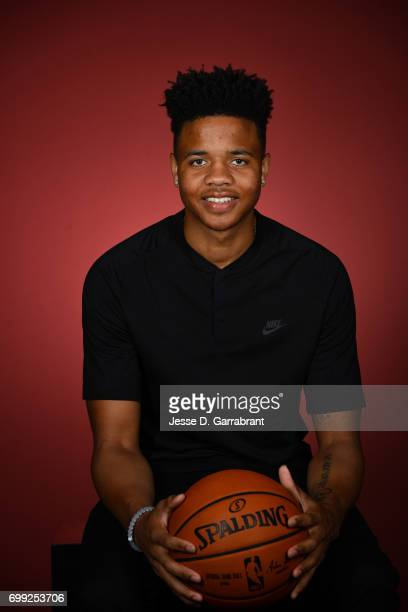 Draft Prospect Markelle Fultz poses for portraits during media availability and circuit as part of the 2017 NBA Draft on June 21 2017 at the Grand...