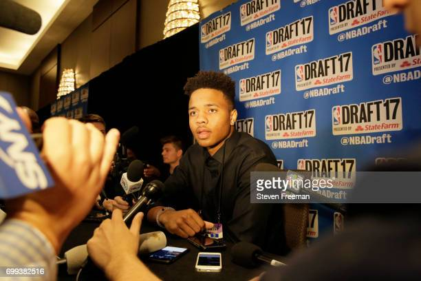 Draft Prospect Markelle Fultz speaks to the media during media availability as part of the 2017 NBA Draft on June 21 2017 at the Grand Hyatt New York...