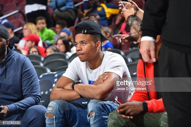 Draft prospect Markelle Fultz takes in the game of the Philadelphia 76ers against the Brooklyn Nets at Wells Fargo Center on April 4 2017 in...