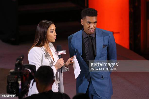 Draft prospect Markelle Fultz talks to Cassidy Hubbarth during the 2017 NBA Draft Lottery at the New York Hilton in New York New York NOTE TO USER...