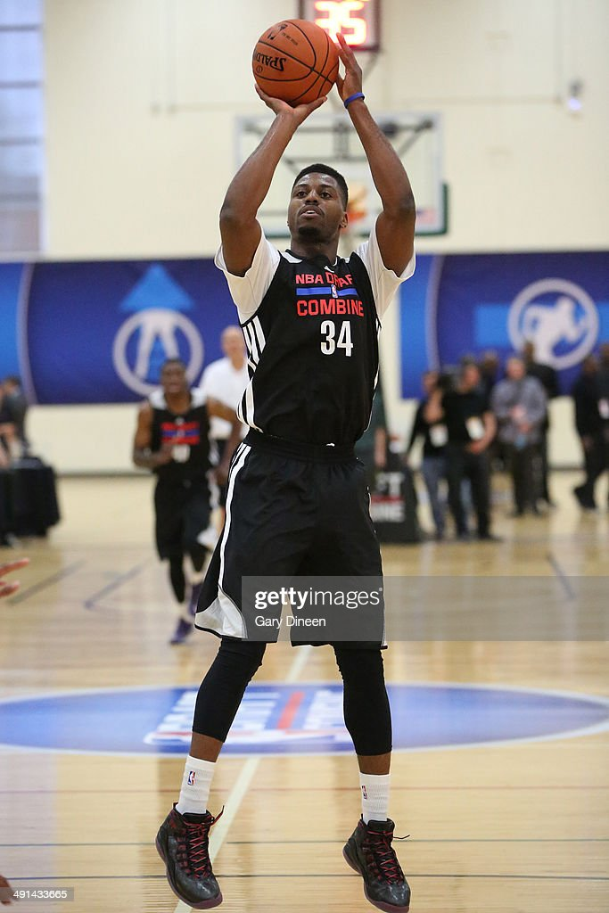 NBA draft prospect <a gi-track='captionPersonalityLinkClicked' href=/galleries/search?phrase=Melvin+Ejim&family=editorial&specificpeople=7493276 ng-click='$event.stopPropagation()'>Melvin Ejim</a> participates in drills during the 2014 Draft Combine on May 15, 2014 at Quest Multisport in Chicago, Illinois.