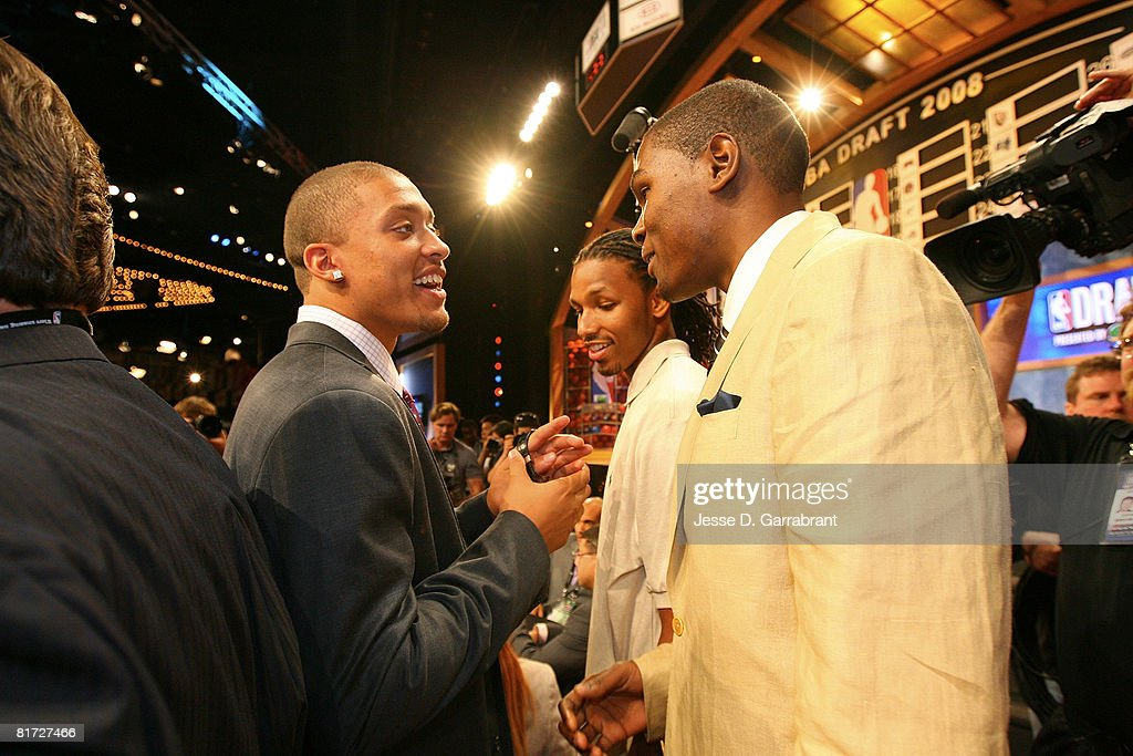 NBA Draft prospect Michael Beasley hangs out with Kevin Durant #35 of the Seattle SuperSonics in the green room prior to the 2008 NBA Draft on June 26, 2008 at the WaMu Theatre at Madison Square Garden in New York City.