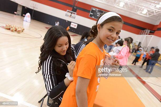 WNBA draft prospect Natalie Achonwa participates in a WNBA Clinic on April 13 2014 at ESPN in Bristol Connecticut NOTE TO USER User expressly...