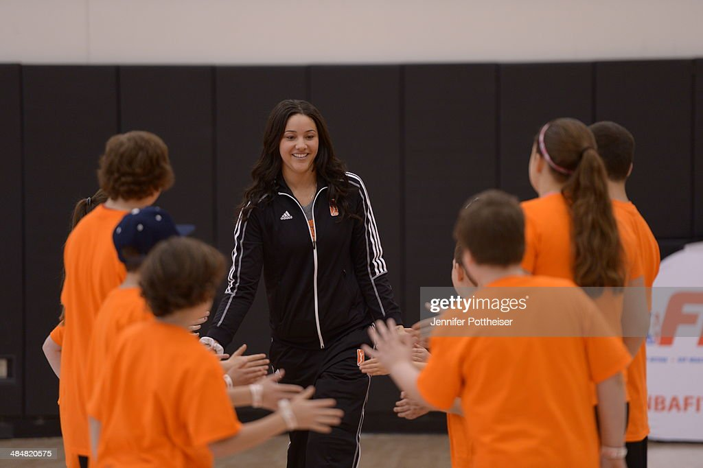 WNBA draft prospect <a gi-track='captionPersonalityLinkClicked' href=/galleries/search?phrase=Natalie+Achonwa&family=editorial&specificpeople=7205881 ng-click='$event.stopPropagation()'>Natalie Achonwa</a> participates in a WNBA Clinic on April 13, 2014 at ESPN in Bristol, Connecticut.
