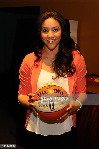 Draft prospect Natalie Achonwa poses for a photo prior to the 2014 WNBA Draft Presented By State Farm on April 14 2014 at Mohegan Sun Arena in...