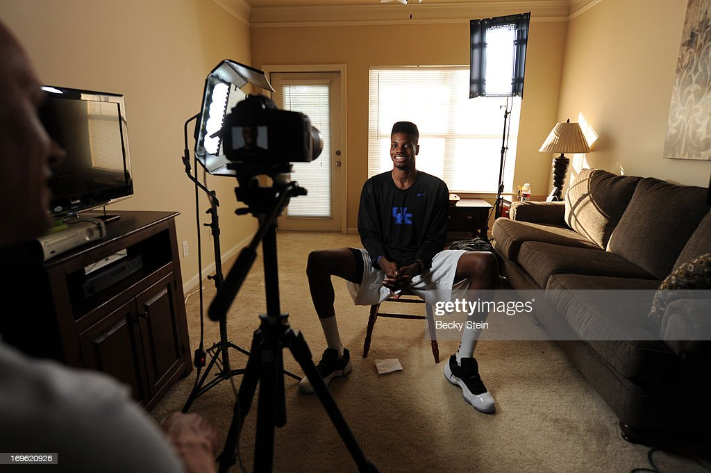 NBA draft prospect <a gi-track='captionPersonalityLinkClicked' href=/galleries/search?phrase=Nerlens+Noel&family=editorial&specificpeople=7880842 ng-click='$event.stopPropagation()'>Nerlens Noel</a> speaks with the media before the NBA Draft Lottery on Tuesday May 21, 2013 in Birmingham, Alabama.