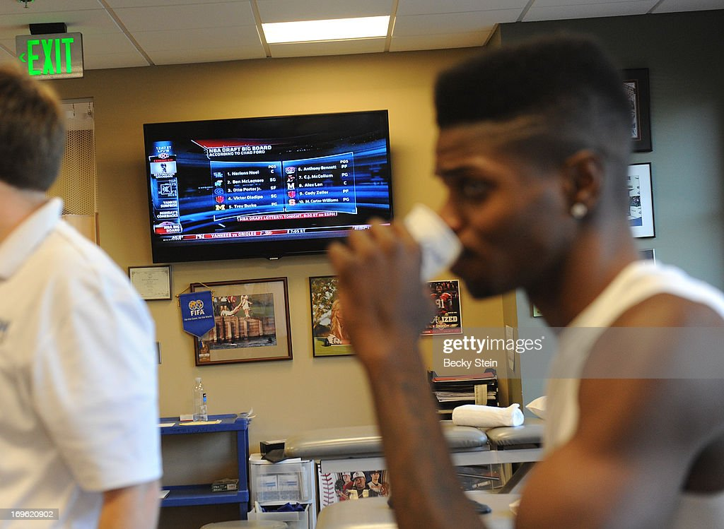 NBA draft prospect <a gi-track='captionPersonalityLinkClicked' href=/galleries/search?phrase=Nerlens+Noel&family=editorial&specificpeople=7880842 ng-click='$event.stopPropagation()'>Nerlens Noel</a> works takes a break during rehab at St Vincent's on Tuesday May 21, 2013 in Birmingham, Alabama.