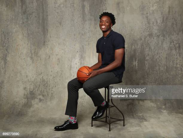 Draft Prospect OG Anunoby poses for portraits during media availability and circuit as part of the 2017 NBA Draft on June 21 2017 at the Grand Hyatt...