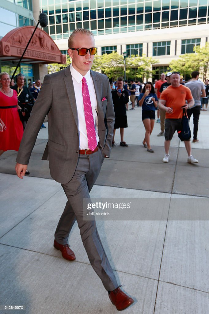 NHL draft prospect <a gi-track='captionPersonalityLinkClicked' href=/galleries/search?phrase=Patrik+Laine&family=editorial&specificpeople=13600427 ng-click='$event.stopPropagation()'>Patrik Laine</a> arrives at First Niagara Center prior to round one of the 2016 NHL Draft on June 24, 2016 in Buffalo, New York.