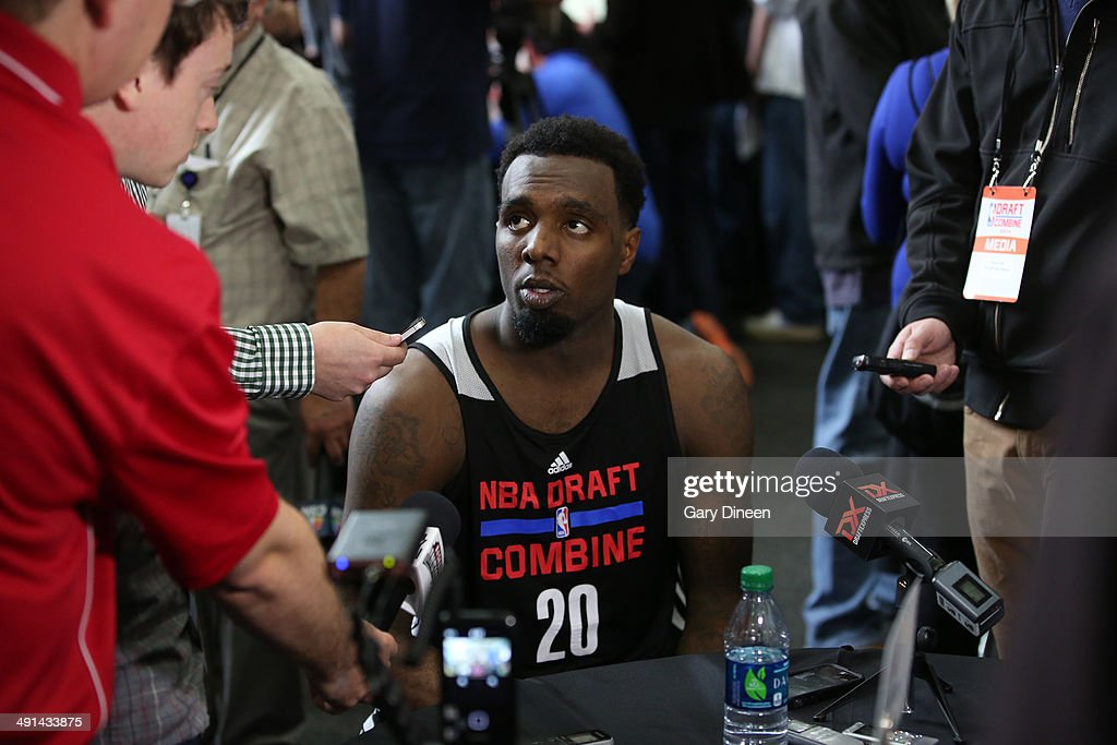 NBA draft prospect <a gi-track='captionPersonalityLinkClicked' href=/galleries/search?phrase=P.J.+Hairston&family=editorial&specificpeople=7621185 ng-click='$event.stopPropagation()'>P.J. Hairston</a> participates in media circuit during the 2014 Draft Combine on May 15, 2014 at Quest Multisport in Chicago, Illinois.