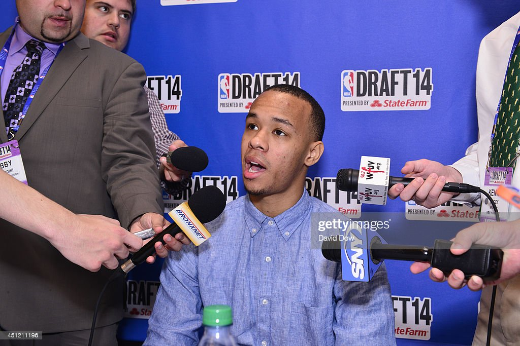 NBA Draft Prospect <a gi-track='captionPersonalityLinkClicked' href=/galleries/search?phrase=Shabazz+Napier&family=editorial&specificpeople=7338263 ng-click='$event.stopPropagation()'>Shabazz Napier</a>, speaks to the media during media availability as part of the 2014 NBA Draft on June 25, 2014 at the Westin Times Square in New York City.