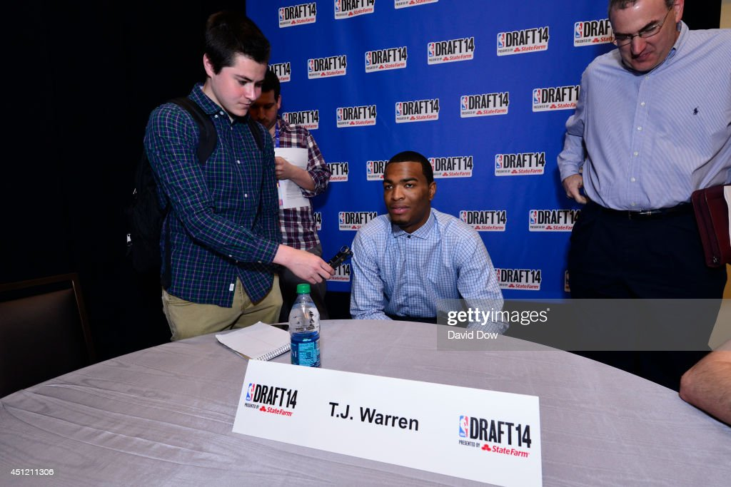 NBA Draft Prospect <a gi-track='captionPersonalityLinkClicked' href=/galleries/search?phrase=T.J.+Warren&family=editorial&specificpeople=9082719 ng-click='$event.stopPropagation()'>T.J. Warren</a>, speaks to the media during media availability as part of the 2014 NBA Draft on June 25, 2014 at the Westin Times Square in New York City.