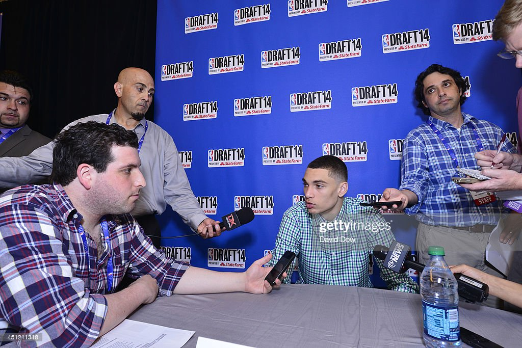 NBA Draft Prospect Zach LaVine, speaks to the media during media availability as part of the 2014 NBA Draft on June 25, 2014 at the Westin Times Square in New York City.