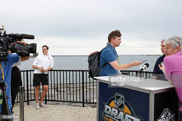 NHL draft prospects Auston Matthews and Patrik Laine participate in the Top Prospects Media Availability portion of the 2016 NHL Draft at the Erie...