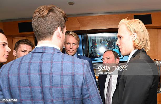 NHL draft prospects Auston Matthews Matthew Tkachuk PierreLuc Dubois Patrik Laine and Alexander Nylander far left meet with NHL Commissioner Gary...