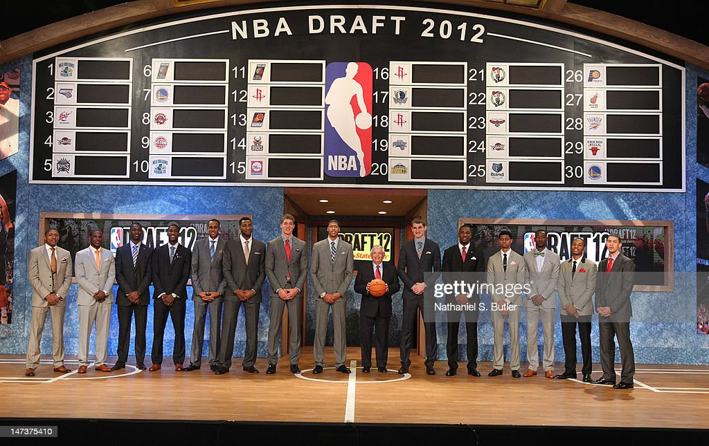 NBA Draft Prospects Bradley Beal, Dion Waiters, Harrison Barnes, Michael Kidd-Gilchrist, John Henson Andre Drummond, Meyers Leonard, Anthony Davis, NBA Commissioner David Stern, Tyler Zeller, Thomas Robinson, Jeremy Lamb, Terrence Ross, Damian Lillard, and Austin Rivers pose with NBA Commissioner David Stern prior to the 2012 NBA Draft at the Prudential Center on June 28, 2012 in Newark, New Jersey.