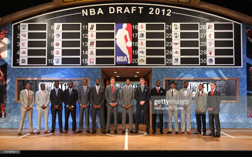 NBA Draft Prospects Bradley Beal, Dion Waiters, Harrison Barnes, Michael Kidd-Gilchrist, John Henson Andre Drummond, Meyers Leonard, Anthony Davis, Tyler Zeller, Thomas Robinson, Jeremy Lamb, Terrence Ross, Damian Lillard, and Austin Rivers pose for a group photo prior to the 2012 NBA Draft at the Prudential Center on June 28, 2012 in Newark, New Jersey.