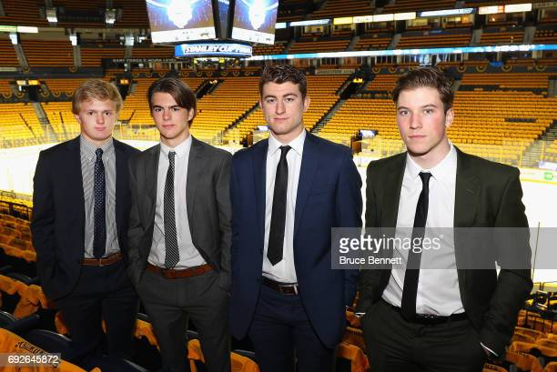 2017 NHL draft prospects Casey Mittelstadt Nico Hischier Gabriel Vilardi and Nolan Patrick pose for a picture during media availability prior to Game...