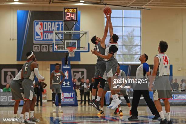 Draft prospects go up for the opening tip off during the NBA Draft Combine Day 2 at the Quest Multisport Center on May 12 2017 in Chicago Illinois...