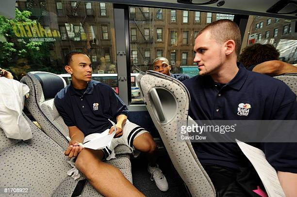 NBA Draft Prospects Jerryd Bayless and Kevin Love talk on the bus on the way to a NBA Cares Special Olympics Clinic at John Jay College on June 25...