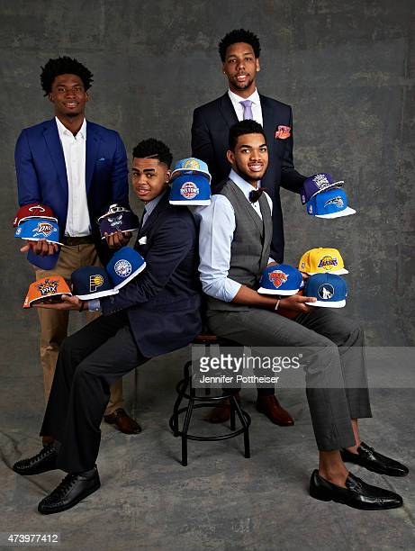 Draft Prospects Justise Winslow D'Angelo Russell Karl Anthony Towns and Jahlil Okafor poses for some portraits prior to the 2015 NBA Draft Lottery on...
