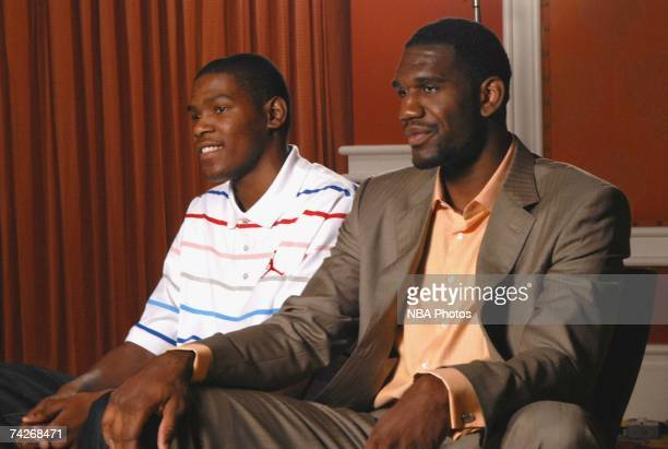 NBA draft prospects Kevin Durant and Greg Oden are interviewed during the USA Basketball press conference held May 23 2007 at the Wynn Resort in Las...