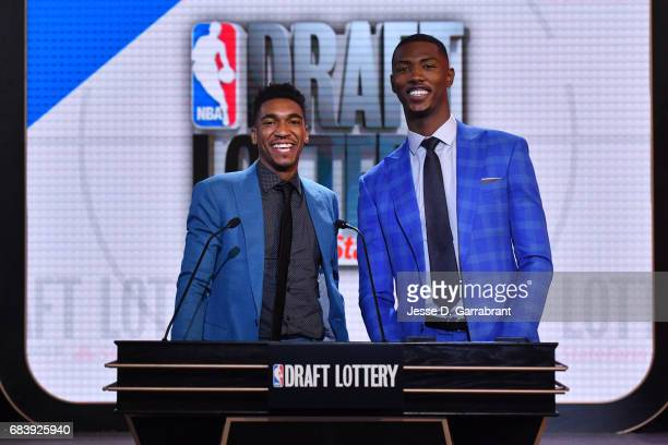 Draft Prospects Malik Monk and Harry Giles III pose for a photo before the 2017 NBA Draft Lottery at the New York Hilton in New York New York NOTE TO...