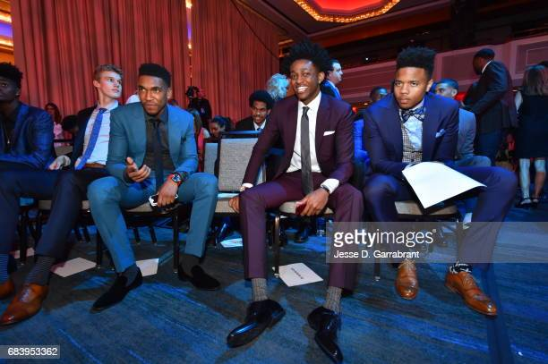 Draft Prospects Malik Monk De'Aaron Fox and Markelle Fultz attend the 2017 NBA Draft Lottery at the New York Hilton in New York New York NOTE TO USER...