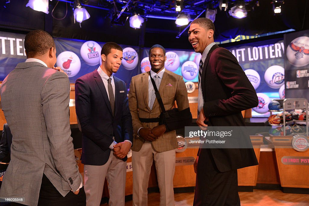 Draft Prospects Michael Carter Williams and Anthony Bennett chats with Anthony Davis of the New Orleans Pelicans at the 2013 NBA Draft Lottery on May 21, 2013 at the ABC News' 'Good Morning America' Times Square Studio in New York City.