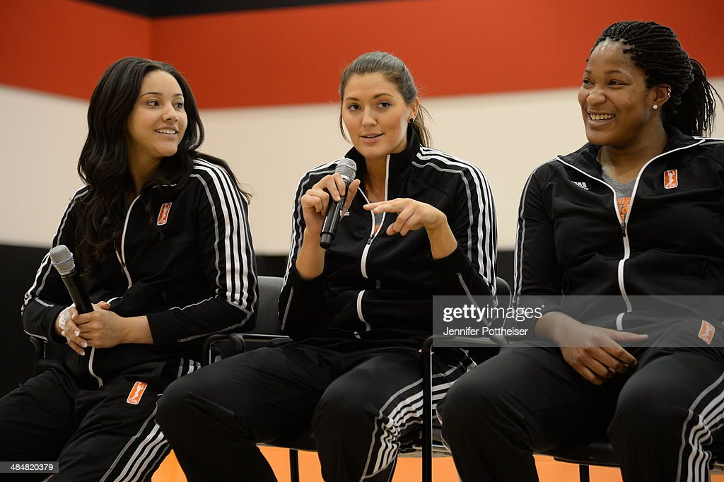 WNBA draft prospects <a gi-track='captionPersonalityLinkClicked' href=/galleries/search?phrase=Natalie+Achonwa&family=editorial&specificpeople=7205881 ng-click='$event.stopPropagation()'>Natalie Achonwa</a>, and <a gi-track='captionPersonalityLinkClicked' href=/galleries/search?phrase=Stefanie+Dolson&family=editorial&specificpeople=7369130 ng-click='$event.stopPropagation()'>Stefanie Dolson</a> participate in a WNBA Clinic on April 13, 2014 at ESPN in Bristol, Connecticut.