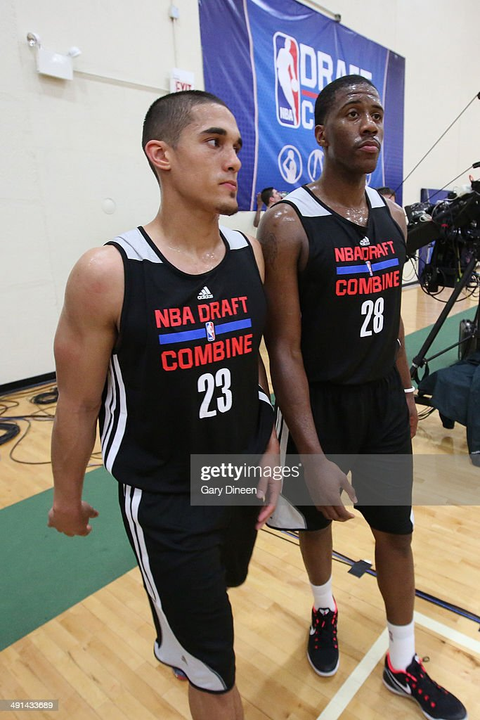 NBA draft prospects Nick Johnson and <a gi-track='captionPersonalityLinkClicked' href=/galleries/search?phrase=Lamar+Patterson&family=editorial&specificpeople=6480704 ng-click='$event.stopPropagation()'>Lamar Patterson</a> participate in drills during the 2014 Draft Combine on May 15, 2014 at Quest Multisport in Chicago, Illinois.