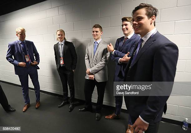 Draft prospects Patrik Laine Alexander Nylander Matthew Tkacuk PierreLuc Dubois and Auston Matthews attend media availablity for 2016 NHL Draft Top...