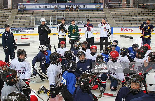 NHL draft prospects PierreLuc Dubois Auston Matthews Matthew Tkachuk Patrik Laine Jesse Puljujarvi and Evander Kane of the Buffalo Sabres attend the...
