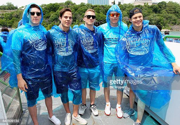 NHL draft prospects PierreLuc Dubois Auston Matthews Matthew Tkachuk Patrik Laine and Jesse Puljujarvi pose together before riding the Maid of the...