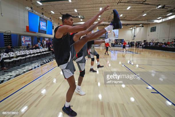 Draft prospects stretch before the start of the NBA Draft Combine at the Quest Multisport Center on May 11 2017 in Chicago Illinois NOTE TO USER User...