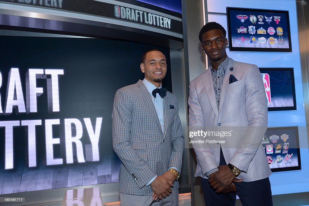 NBA Draft prospects Tyler Ennis and <a gi-track='captionPersonalityLinkClicked' href=/galleries/search?phrase=Noah+Vonleh&family=editorial&specificpeople=9612442 ng-click='$event.stopPropagation()'>Noah Vonleh</a> poses for a photo at a reception prior to the 2014 NBA Draft Lottery on May 20, 2014 at the ABC News' 'Good Morning America' Times Square Studio in New York City.