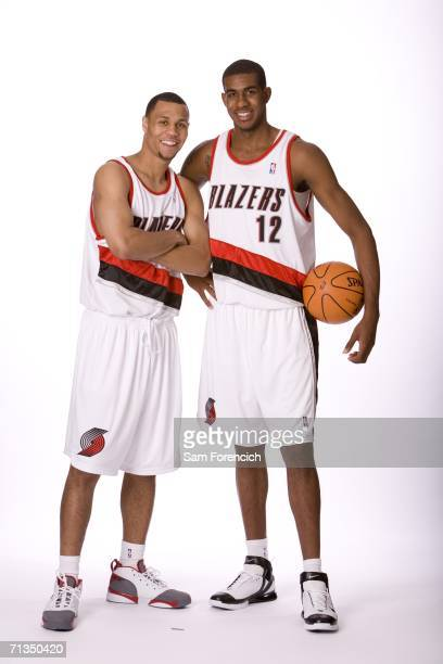NBA draft selections Brandon Roy and LaMarcus Aldridge both acquired by the Portland Trail Blazers pose for a photo June 28 2006 at the Rose Garden...
