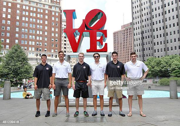 Draft Top Prospects Anthony DeAngelo Aaron Ekblad Samuel Bennett Sam Reinhart Michael Dal Colle and Leon Draisaitl pose for a photo at Love Park on...