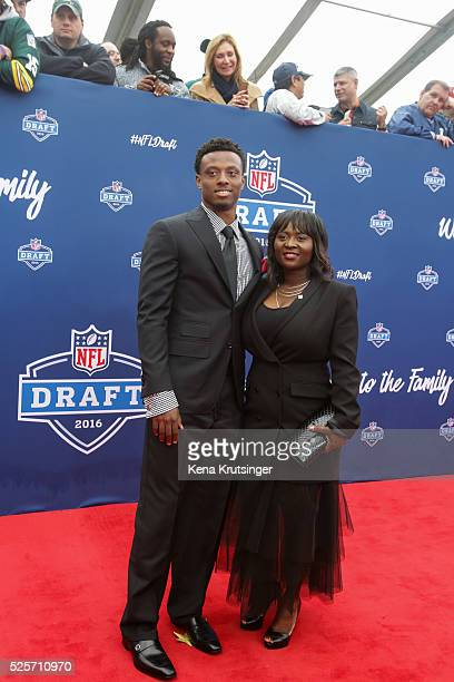 Draftee Eli Apple of Ohio State and his mother Annie arrive to the 2016 NFL Draft at the Auditorium Theatre of Roosevelt University on April 28 2016...