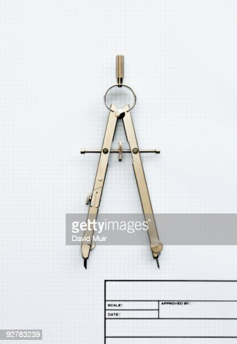 drafting compass : Foto de stock