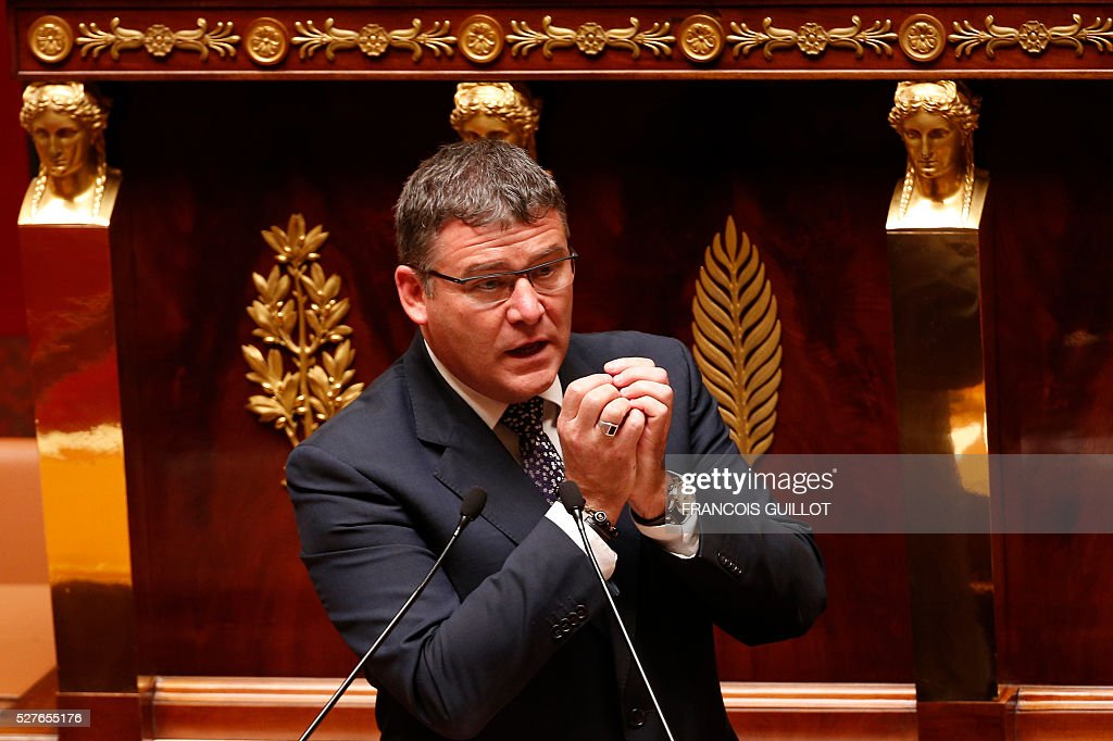 Draftsman of the French national assembly commission for Economic and Social Affairs Christophe Sirugue delivers a speech prior to the vote on the controversial labour reform bill, on May 3, 2016 at the French National assembly in Paris.