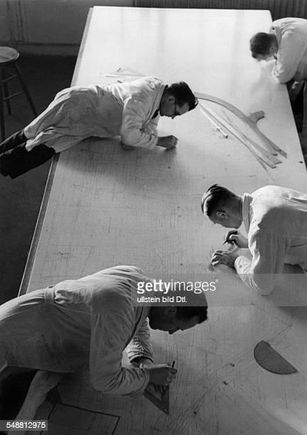 Draftsmen to work on a new model of a car 1937 Photographer Max Ehlert Published by 'Berliner Illustrirte Zeitung' 07/1937 Vintage property of...