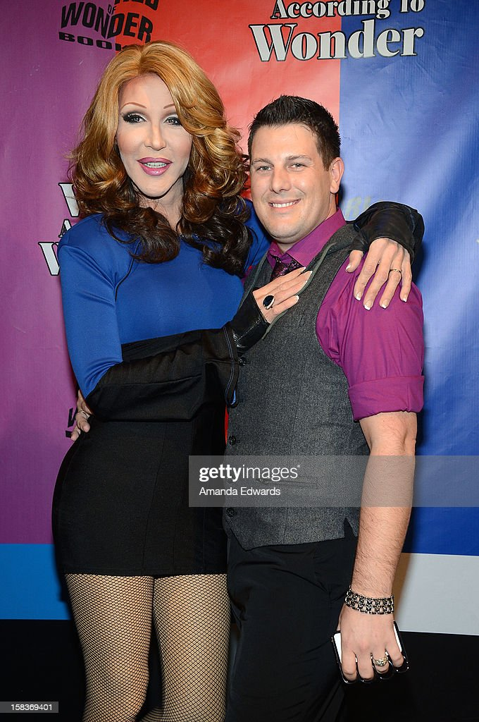 Drag queen Chad Michaels (L) and Adam Magee arrive at the World Of Wonder book release party/birthday bash at The Globe Theatre at Universal Studios on December 13, 2012 in Universal City, California.