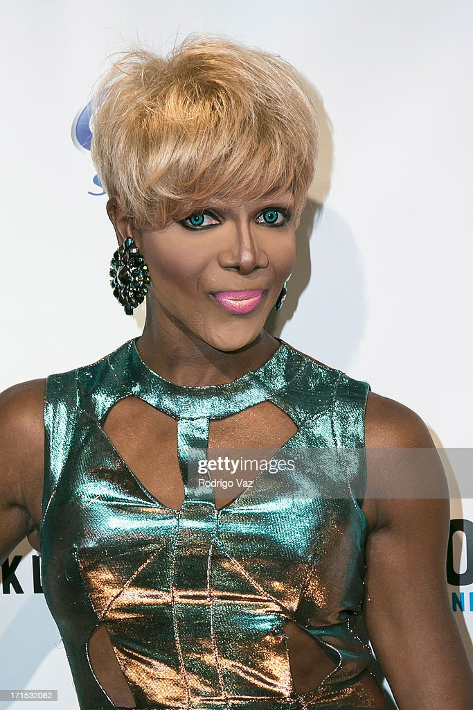 Drag queen Coco Montrese (Martin Cooper) arrives at Logo's 'Hot 100' Party at Drai's Lounge in W Hollywood on June 25, 2013 in Hollywood, California.